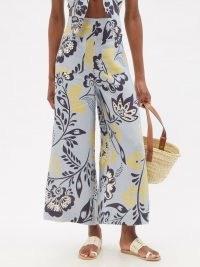 CALA DE LA CRUZ Valerie high-rise floral-print linen trousers / womens blue wide leg summer pants