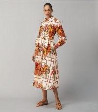 Tory Burch PRINTED BRODERIE ANGLAISE PAINTER'S DRESS ~ voluminous bold print tie waist shirt dresses