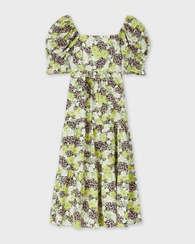 TED BAKER MAYSIIE Puff Sleeve Tiered Midi Dress – green floral square neck summer dresses - flipped