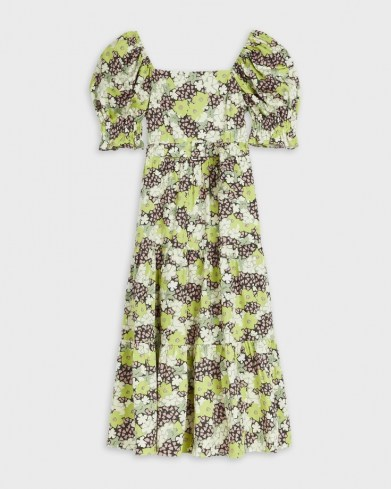 TED BAKER MAYSIIE Puff Sleeve Tiered Midi Dress – green floral square neck summer dresses