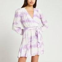 RIVER ISLAND Purple long sleeve tie dye wrap mini dress