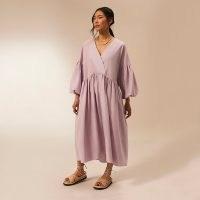 RIVER ISLAND Purple RI Studio cotton oversized dress ~ oversized relaxed fit balloon sleeve dresses