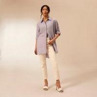 RIVER ISLAND Purple RI Studio long sleeve oversized shirt ~ women's longline high low shirts
