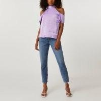 river island Purple short sleeve cold shoulder halter top ~ satin style high neck tops
