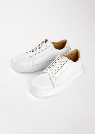 Tony Bianco Qai Milk Casual Shoes   women's smart leather scalloped edge sneakers - flipped