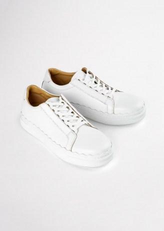 Tony Bianco Qai Milk Casual Shoes   women's smart leather scalloped edge sneakers