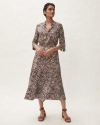 JIGSAW SECRET GARDEN MIDI DRESS / womens floral print flared skirt dresses