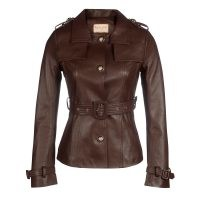 Santinni 'Rebel Without A Cause' 100% Leather Jacket In Marrone ~ women's luxe brown belted jackets