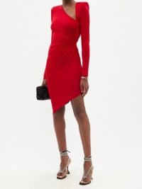 ALEXANDRE VAUTHIER Red asymmetric jersey mini dress ~ evening event glamour ~ glamorous 80s style occasion dresses ~ designer party fashion