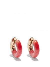 BOTTEGA VENETA Red jade & 18kt gold-plated silver hoop earrings / bright chunky hoops