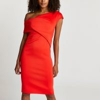 River Island Red off the shoulder midi dress | LRD | womens going out dresses | evening fashion | asymmetric party clothing
