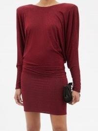ALEXANDRE VAUTHIER Red padded-shoulder lamé mini dress ~ glittering evening event dresses ~ metallic occasion fashion ~ womens designer clothing