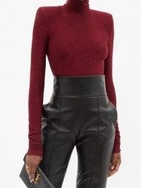 ALEXANDRE VAUTHIER Red padded-shoulder lamé-jersey bodysuit ~ glittering metallic thread bodysuits ~ womens designer fashion