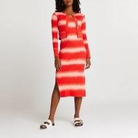 RIVER ISLAND Red tie dye midi dress cardigan set / womens fashion sets / co ords