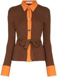 Rejina Pyo Blake belted ribbed cardigan ~ brown and orange trim tie waist cardigans ~ womens knitwear