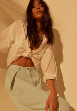 MISSGUIDED re_styld mint wide leg jeans ~ women's casual light green high waist trousers - flipped