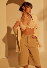 Missguided re_styld olive wide leg denim culottes | women's organic cotton culotte style shorts