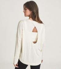 REISS RITA KEYHOLE DETAIL JERSEY TOP NEUTRAL ~ women's cut out back tops ~ womens casual clothing