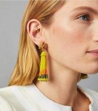 Tory Burch ROXANNE BEADED TASSEL EARRING / yellow tasseled drops / summer statement jewellery