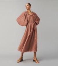 Tory Burch RUFFLE NECK DRESS WOOD ROSE   voluminous balloon sleeve tie waist dresses