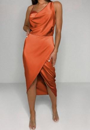 MISSGUIDED rust satin drape midi dress ~ asymmetric going out dresses - flipped