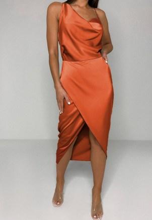 MISSGUIDED rust satin drape midi dress ~ asymmetric going out dresses