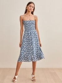 REFORMATION Sable Dress in Marni / strappy blue floral smocked bodice summer dresses