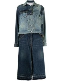 Sacai patchwork denim jacket ~ jackets with skirt applique attached