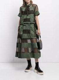 Sacai patchwork panelled shirt dress ~ semi sheer khaki green dresses