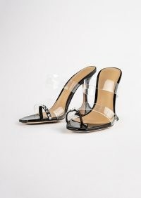 TONY BIANCO Saffron Clear Vinylite/Black Patent Heels