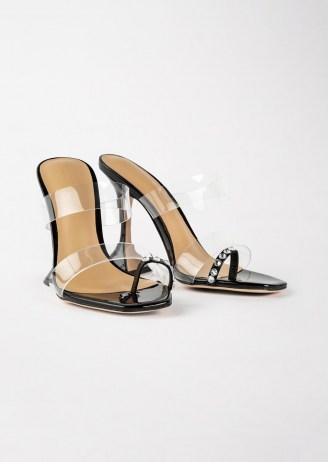 TONY BIANCO Saffron Clear Vinylite/Black Patent Heels - flipped