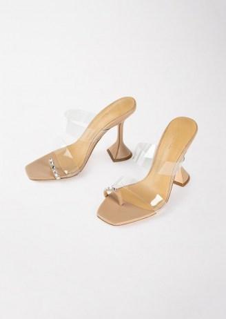 TONY BIANCO Saffron Clear Vinylite/Skin Nappa Heels – embellished toe ring sandals – clear strap flared heel mules - flipped