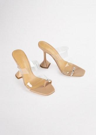 TONY BIANCO Saffron Clear Vinylite/Skin Nappa Heels – embellished toe ring sandals – clear strap flared heel mules