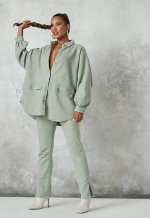 Missguided sage co ord oversized pocket detail denim shirt | women's light green casual shirts