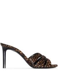 Saint Laurent leopard print Tirbute 85mm sandals / glamorous animal print mules