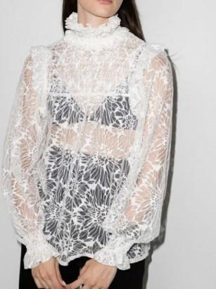 Saint Laurent smocked babydoll blouse ~ sheer lace high ruffle neck blouses ~ womens romantic fashion - flipped