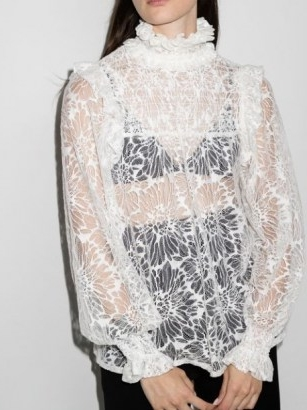 Saint Laurent smocked babydoll blouse ~ sheer lace high ruffle neck blouses ~ womens romantic fashion