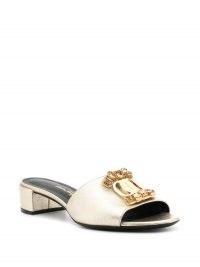 Salvatore Ferragamo Henri 30 open-toe sandals – embellished gold block heel mules