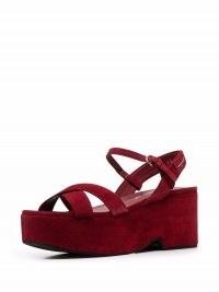 Salvatore Ferragamo red strappy platform block-heel sandals / womens suede platforms / women's retro footwear