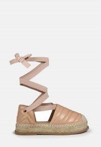 MISSGUIDED sand padded flatform lace up espadrille sandals / women's summer ankle tie flatforms / woven jute espadrilles