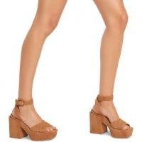 FURLA CROSS Sandals Miele ~ chunky brown ankle strap platforms ~ block heel platform shoes ~ vintage style summer shoes ~ women's retro footwear