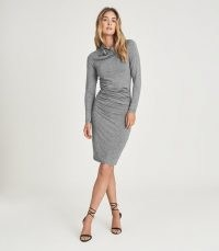 REISS SARA RUCHED WOOL-JERSEY BODYCON DRESS GREY MARL ~ chic gathered dresses