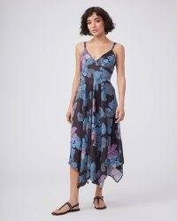 PAIGE Sardinia Dress – Black Multi   floral handkerchief hem summer dresses