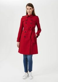 HOBBS SASKIA WATER RESISTANT TRENCH COAT / womens bright red macs / women's smart tie waist coats / belted outerwear