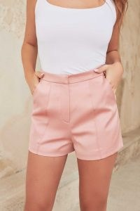 lavish alice satin shorts in dusty rose ~ luxe pink tailored evening shorts