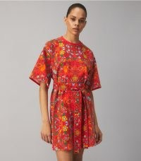 Tory Burch SCARF PRINTED T-SHIRT DRESS Red Folk Art Print / cotton mixed animal and floral print tee dresses