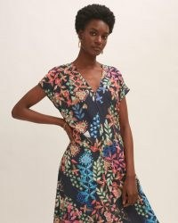 JIGSAW SECRET GARDEN MIDI DRESS / navy floral print dresses
