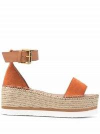 See by Chloé Glyn platform espadrilles / orange leather ankle strap platforms
