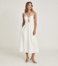 REISS SERENA LACE DETAILED MIDI DRESS WHITE / feminine strappy summer dresses / womens occasionwear