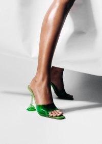 TONY BIANCO Serrin Lime Vinylite/lime Nappa Heels ~ bright green clear flared heel sandals ~ square toe mules